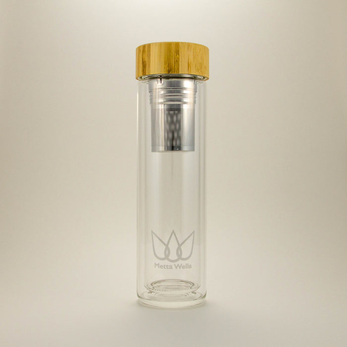 Sunday Bottle - Genuine Bamboo Lid, Double Walled Vacuum Insulated Glass Infuser Bottle