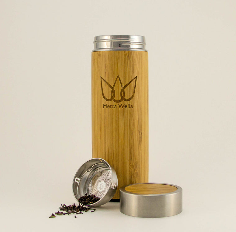 Malawi - Genuine Bamboo Exterior, Double Walled Vacuum Insulated Infuser Bottle