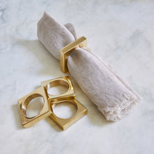 Load image into Gallery viewer, Brass Modernist Napkin Rings (Set of 2)