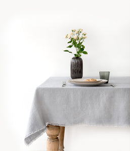Washed Linen Tablecloth with Fringes