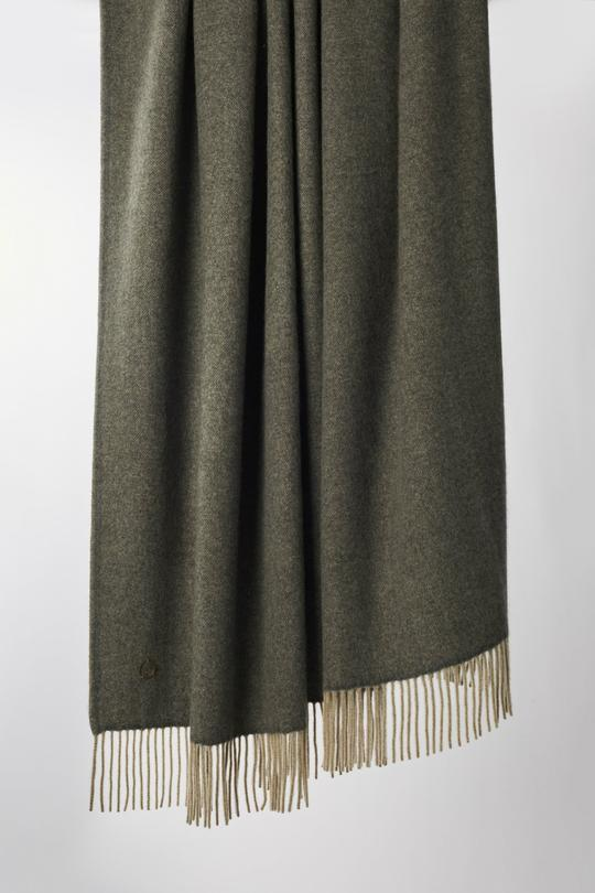 Uno Classic Fringed Two-Tone Cashmere Throw Slate Grey / Melange Taupe