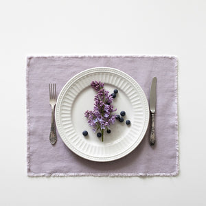 Washed Linen Placemat With Fringes