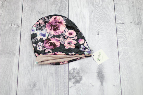 Slouchy Beanie (Reversible Pink Floral/Rose Gold)