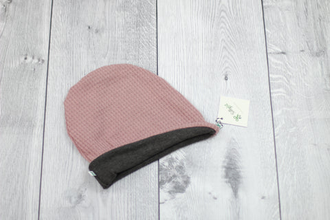 Slouchy Beanie (Reversible Dusty Rose/Charcoal)