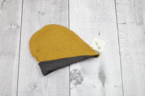 Slouchy Beanie (Reversible Mustard/Charcoal)