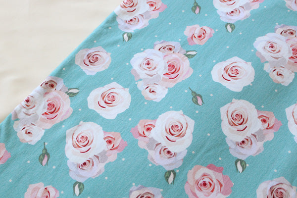 Blue Roses Cottom Spandex