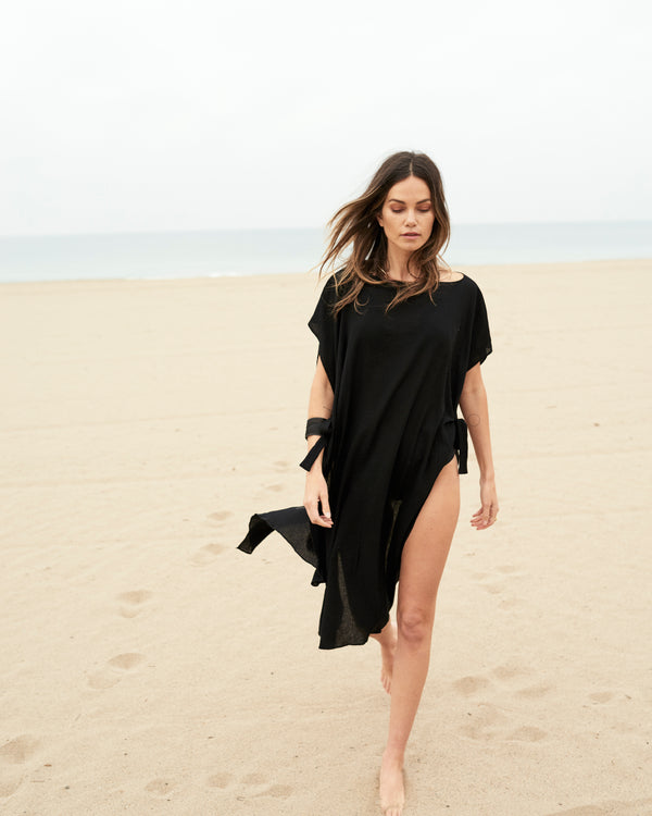 Black cover-up beachside separates resort wear collection stylish poolside lounging