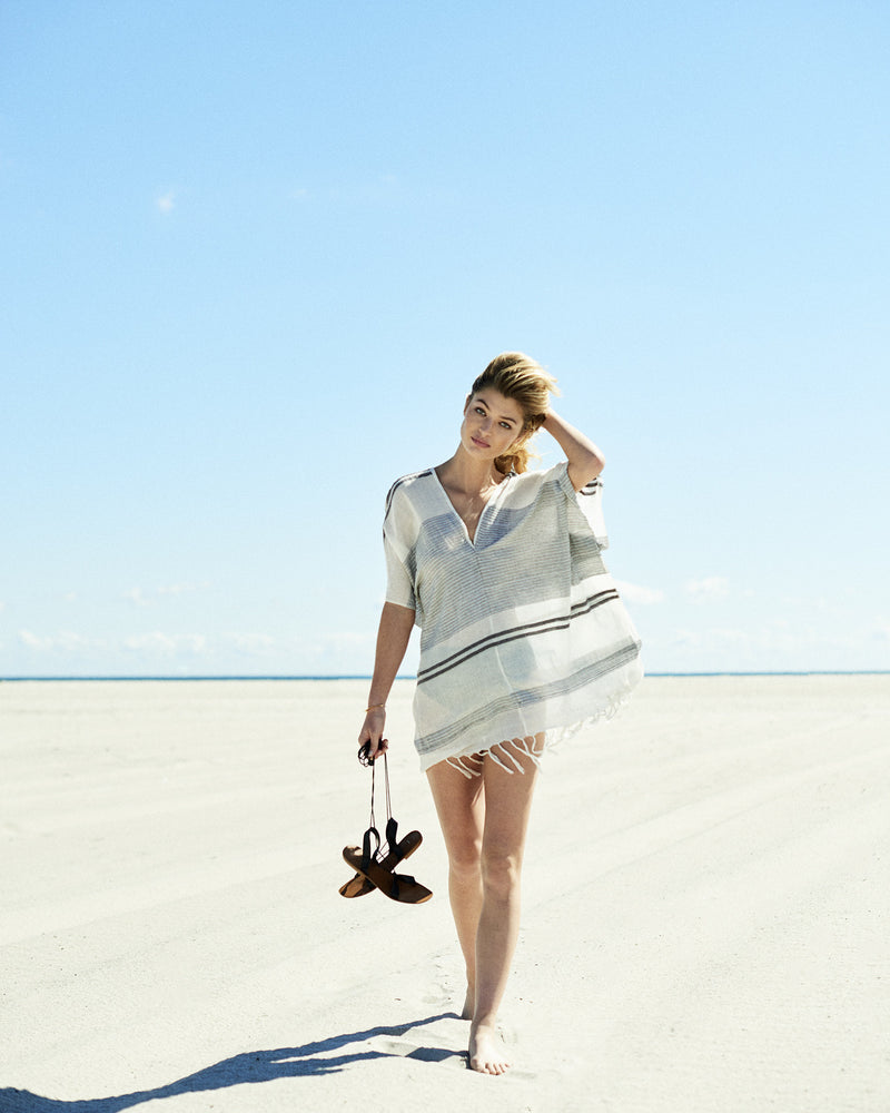 off-white tunic Beachside clothing women's resort wear handcrafted beachwear