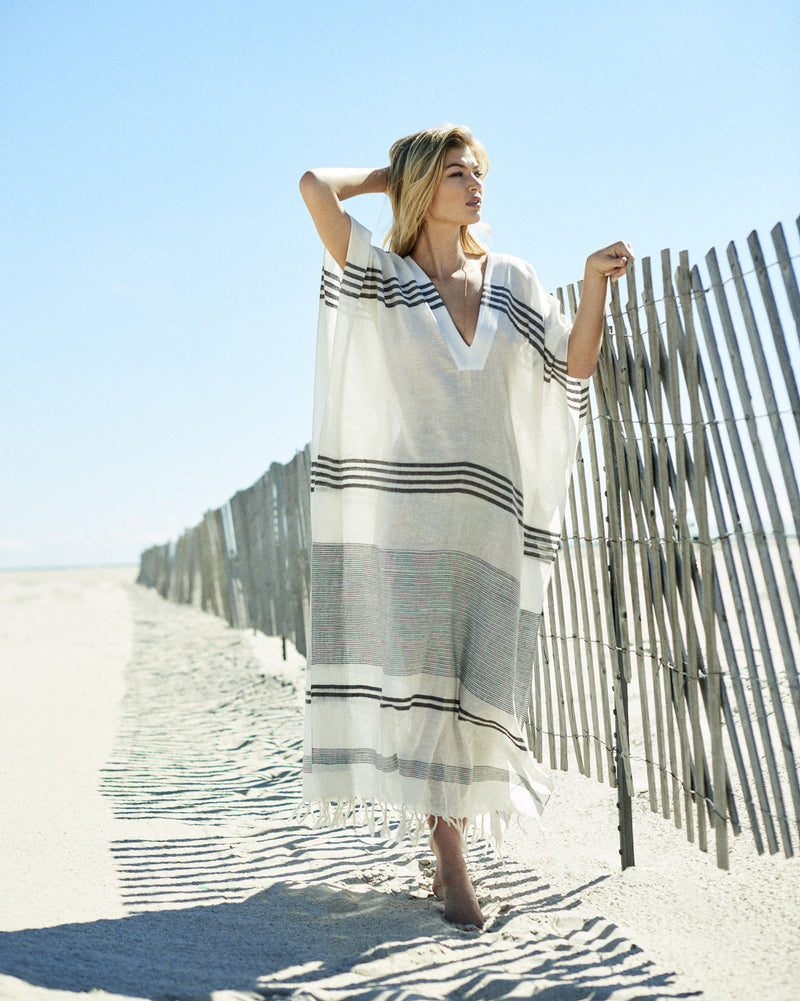 striped beach caftan sheer caftan   handcrafted caftans   beachside separates resort wear collection