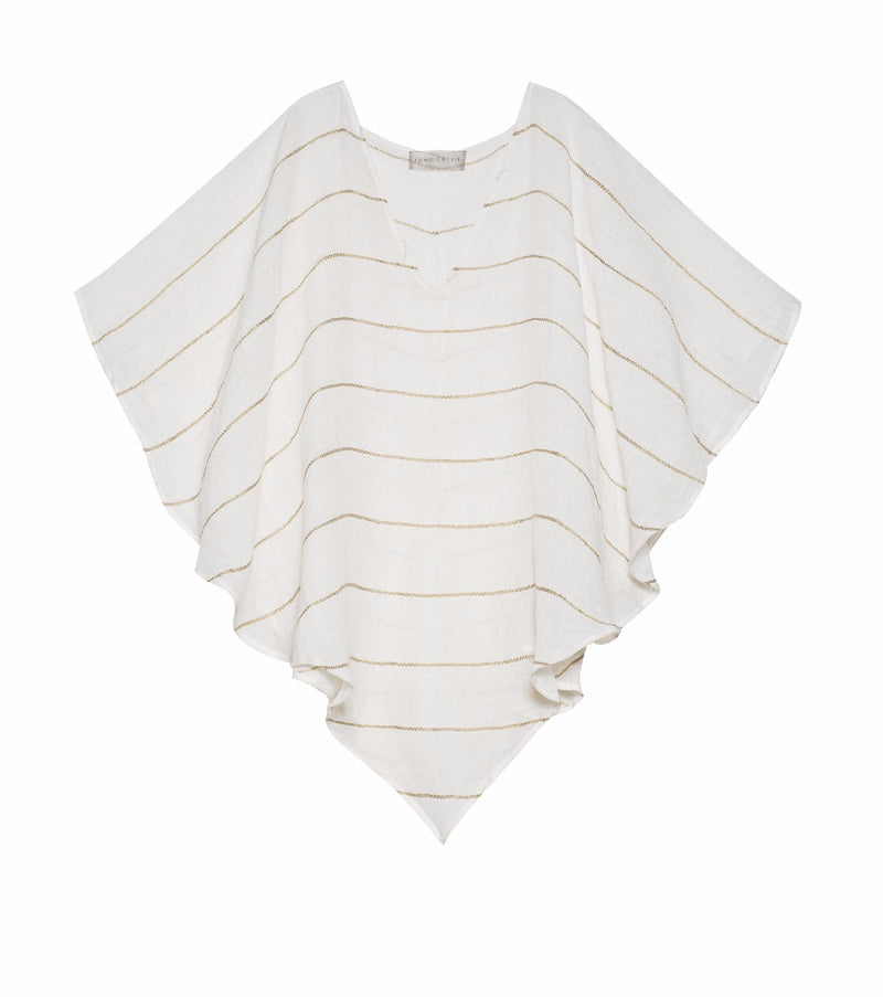 Anita Poncho - natural white with stripe