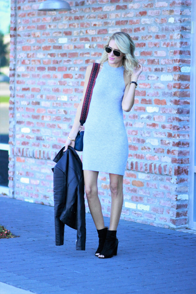 Belle de Couture in Sleeveless Gray Sweater Dress