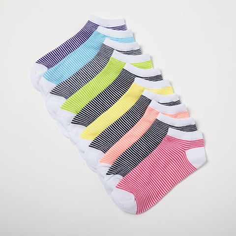 Aerosoles Women's Striped Low Cut Low Cut 10-Pack Socks 9-11