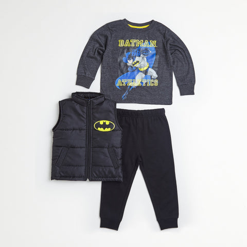 Batman Black Puff Vest, Tee & Jogger Set