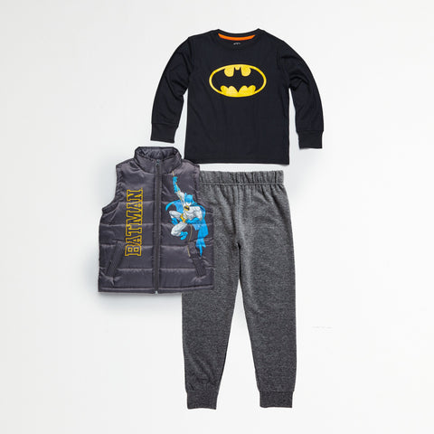 Batman Gray Puff Vest, Tee & Jogger Set