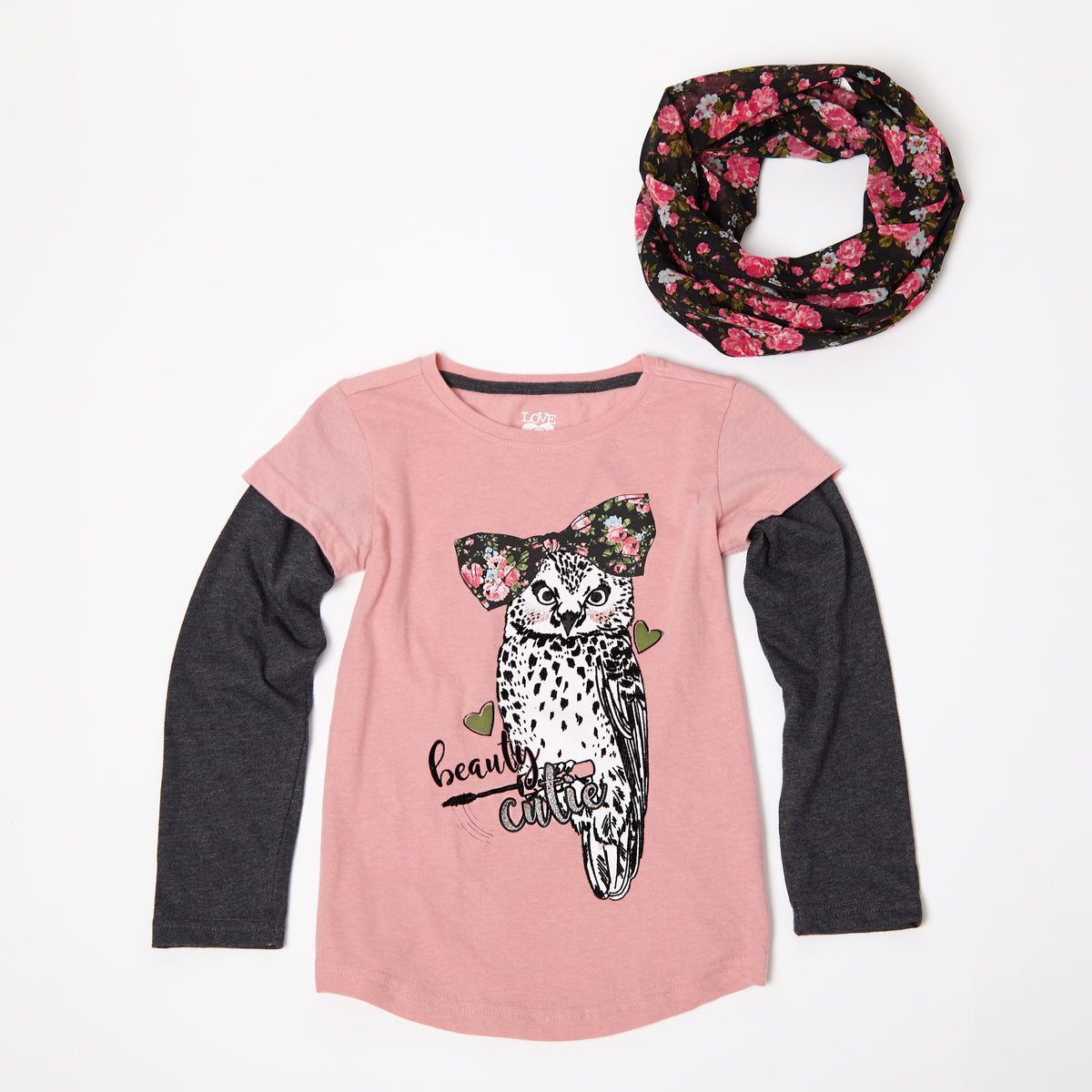 Beauty Cutie Long Sleeve Tee With Scarf