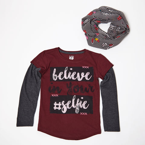Believe In Your Selfie Long Sleeve Tee With Scarf
