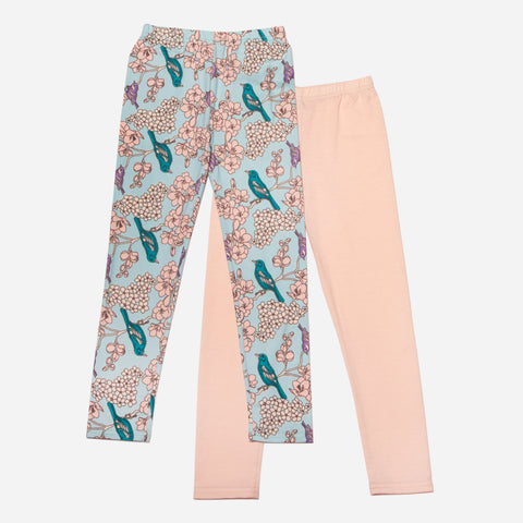 Bird/Floral Print and Light Pink Legging Set of 2