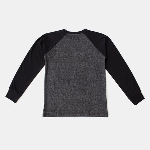 Black Baseball Style Raglan Long Sleeve Tee
