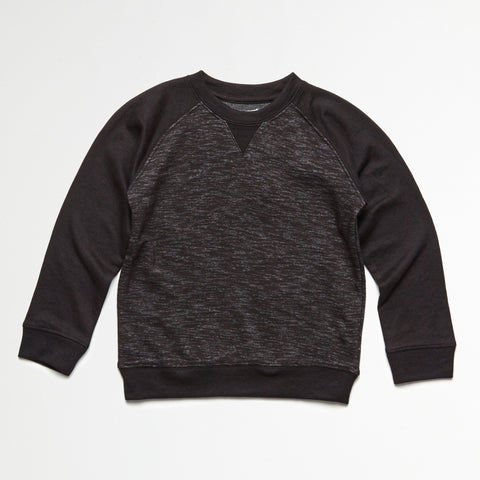 Black Heather Raglan Pullover