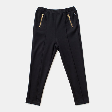 Black Legging With Exposed Gold Zippers
