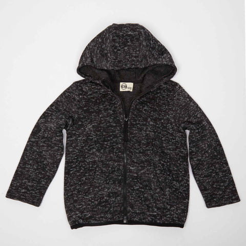 Black Sweater Knit Zip-Up