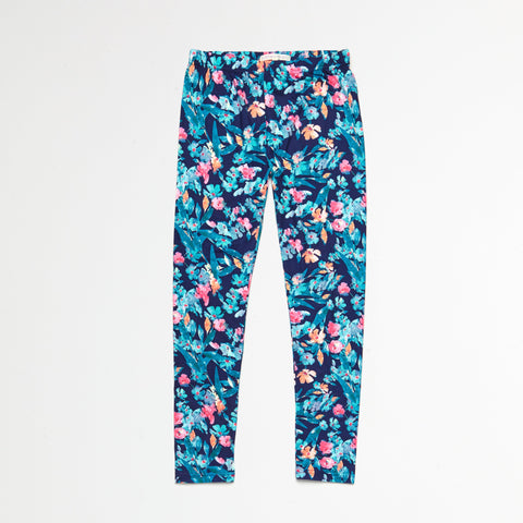Blue Floral and Pink Tribal Legging Set of 2