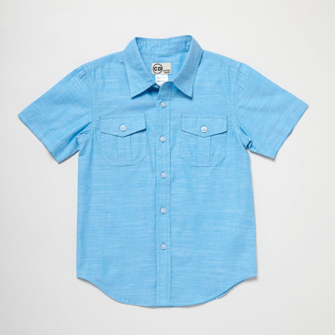 Blue Two-Pocket Short Sleeve Button Down