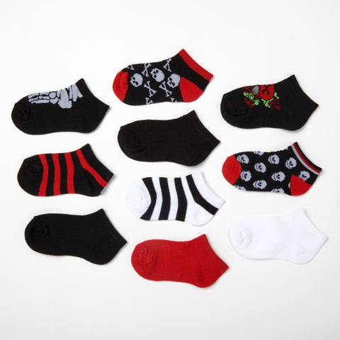 Boys' Skulls + Stripes 10-Pack Low Cut Socks 4-6.5