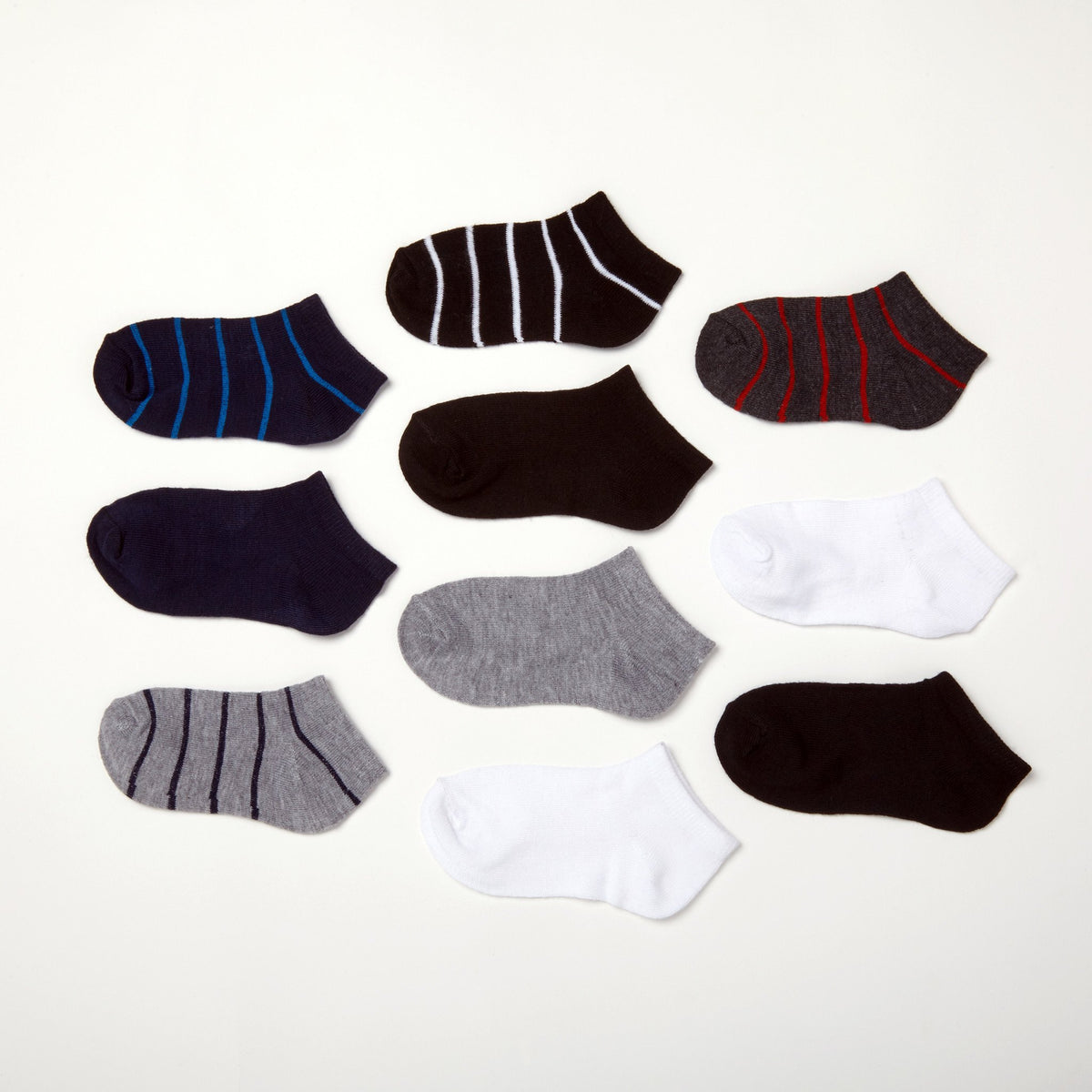 Boys' Solids + Stripes 10-Pack Low Cut Socks 4-6.5