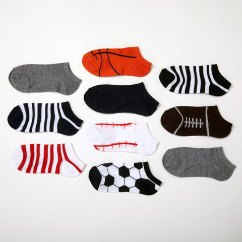 Boys' Sports 10-Pack Low Cut Socks 6-8.5