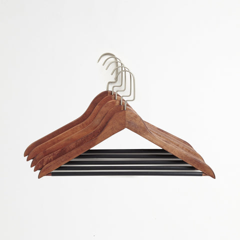 Brown 5-Pack Suit Hanger Set