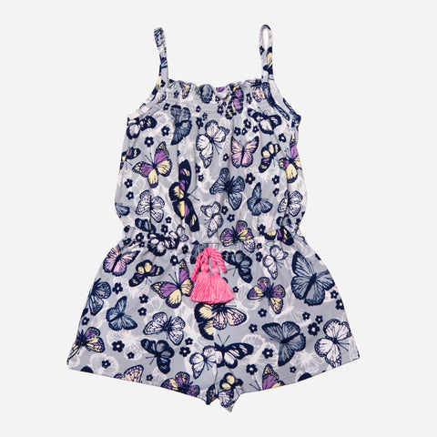 Butterfly Print Romper with Tie Waist