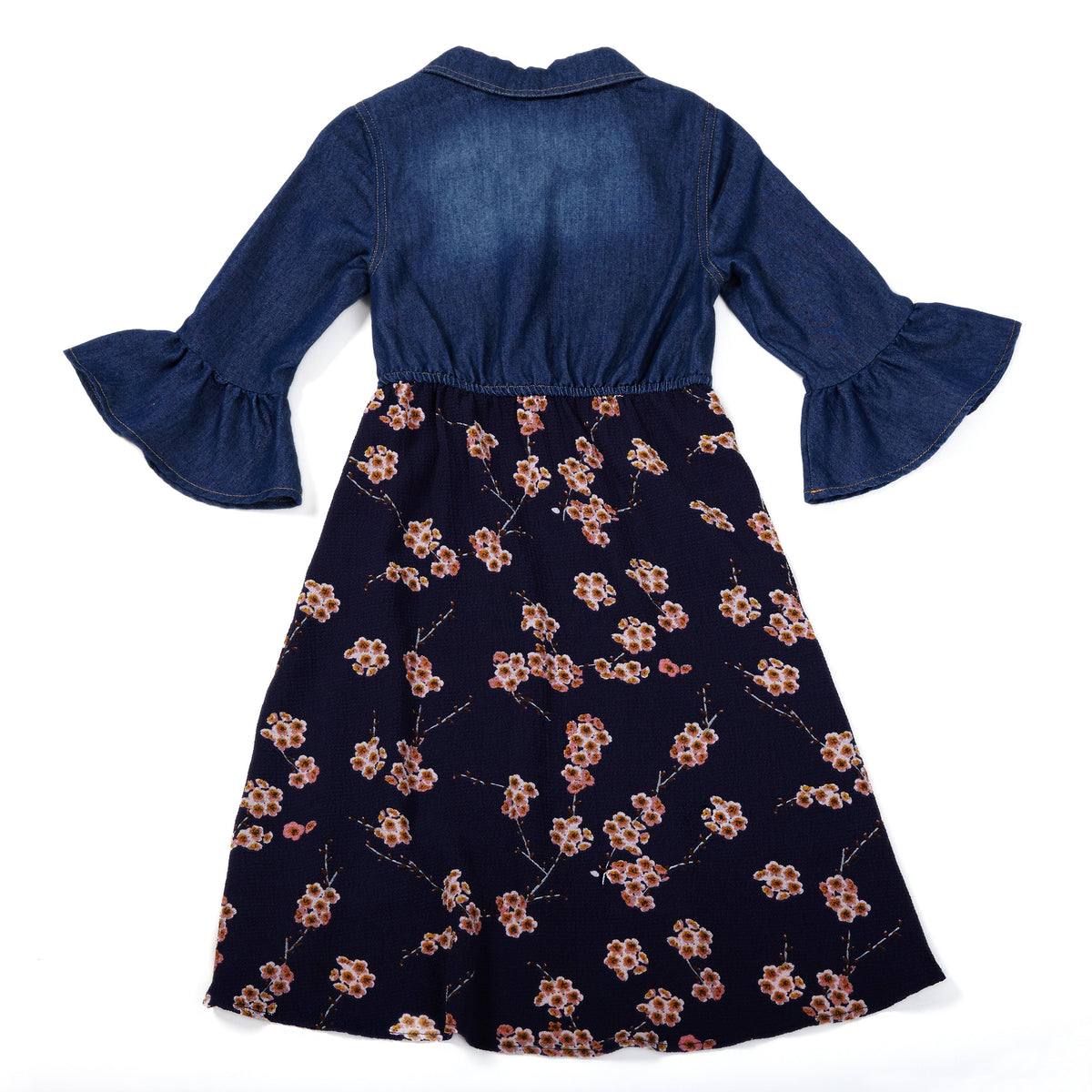 e490e30a1384 Girls Navy Blue Floral Dress, Chambray, Bell Sleeves,Toddler,Size 4 ...