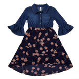Chambray and Floral Chiffon Dress with Bell Sleeves