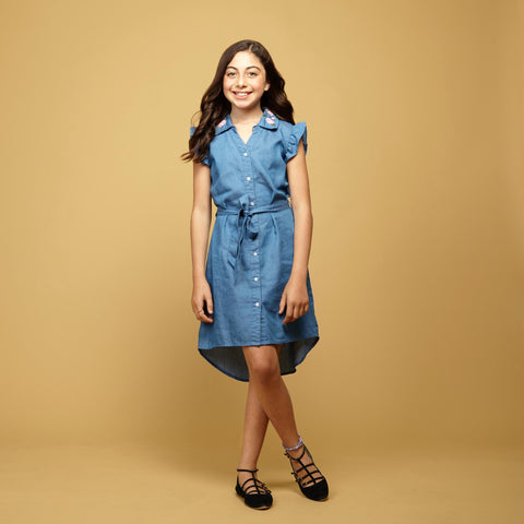 Chambray Dress With Embroidered Flowers