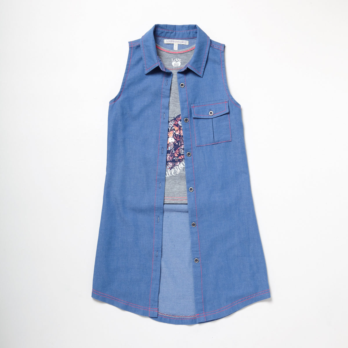 Chambray Printed Top And Vest