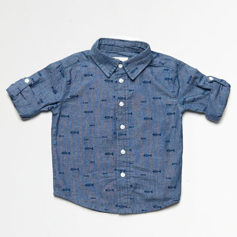 Chambray Shirt With Fish Bones Print