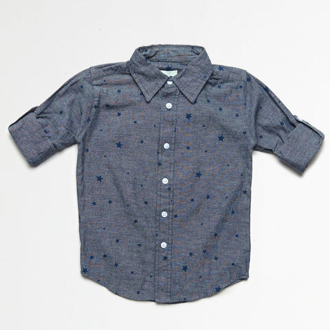 Chambray Shirt With Star Print