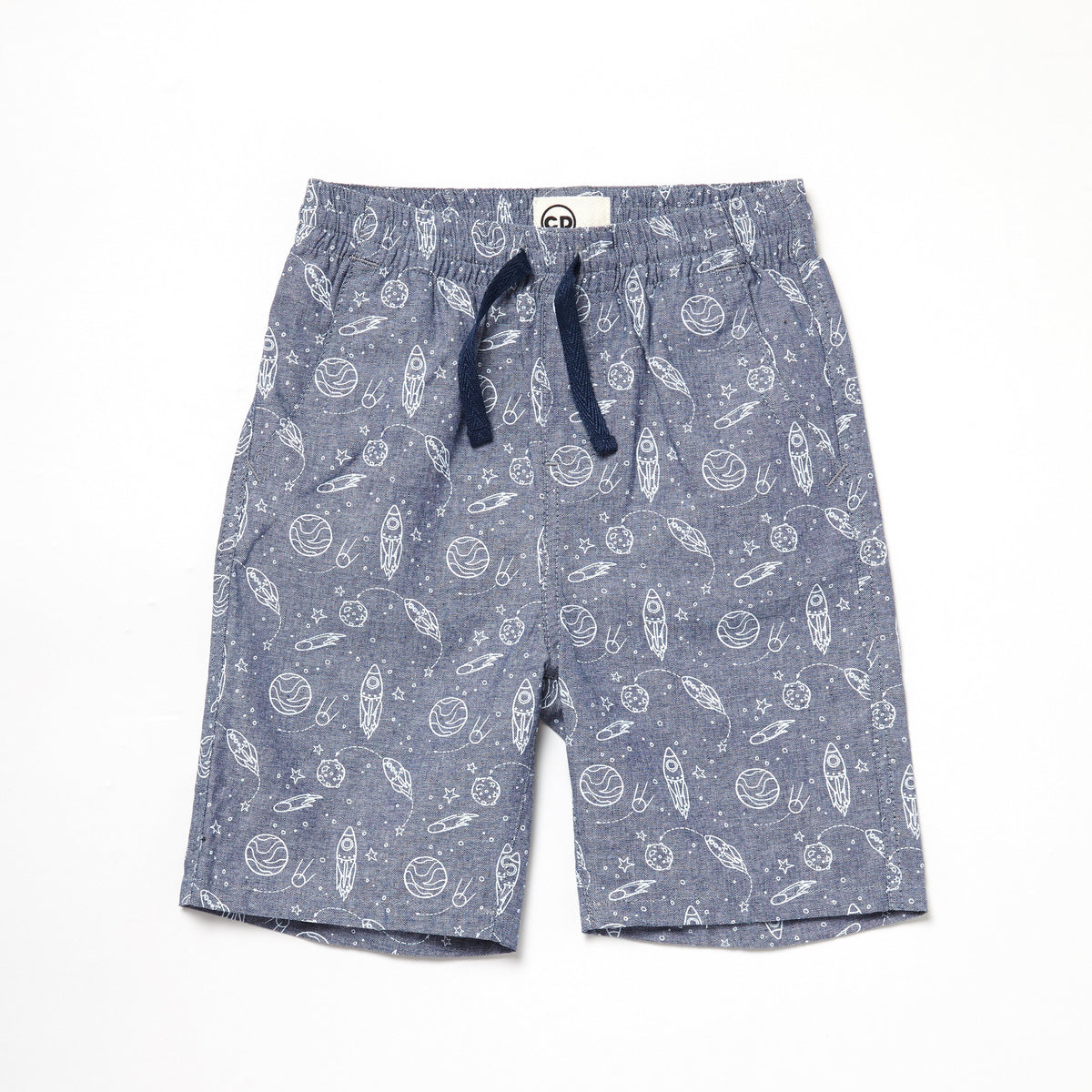 Chambray Space Print Shorts