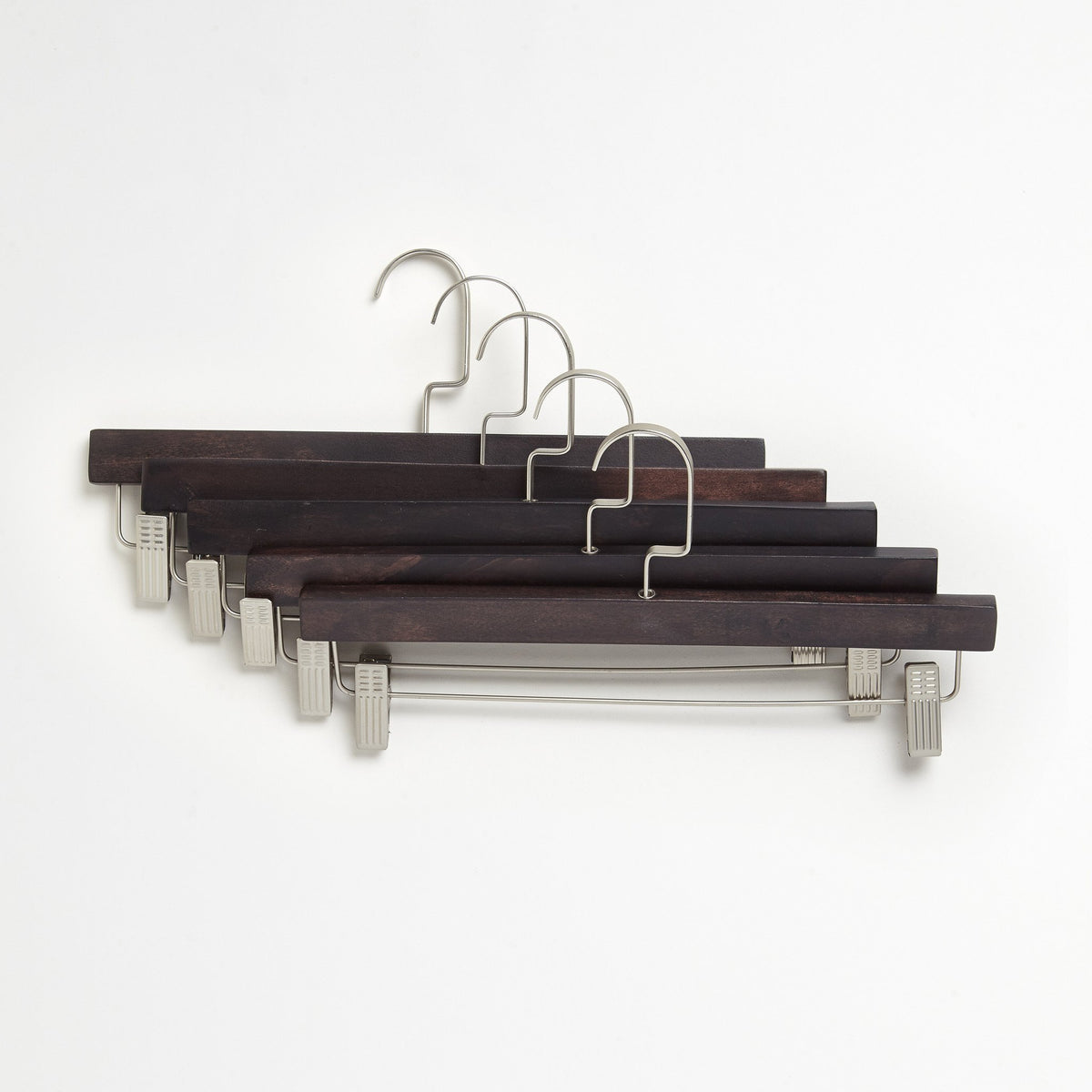 Chocolate Brown Wood Pant Hangers 5-Pack