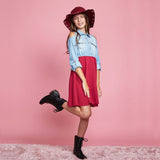 Cold Shoulder Chambray Shirt Dress with Quilted Skirt