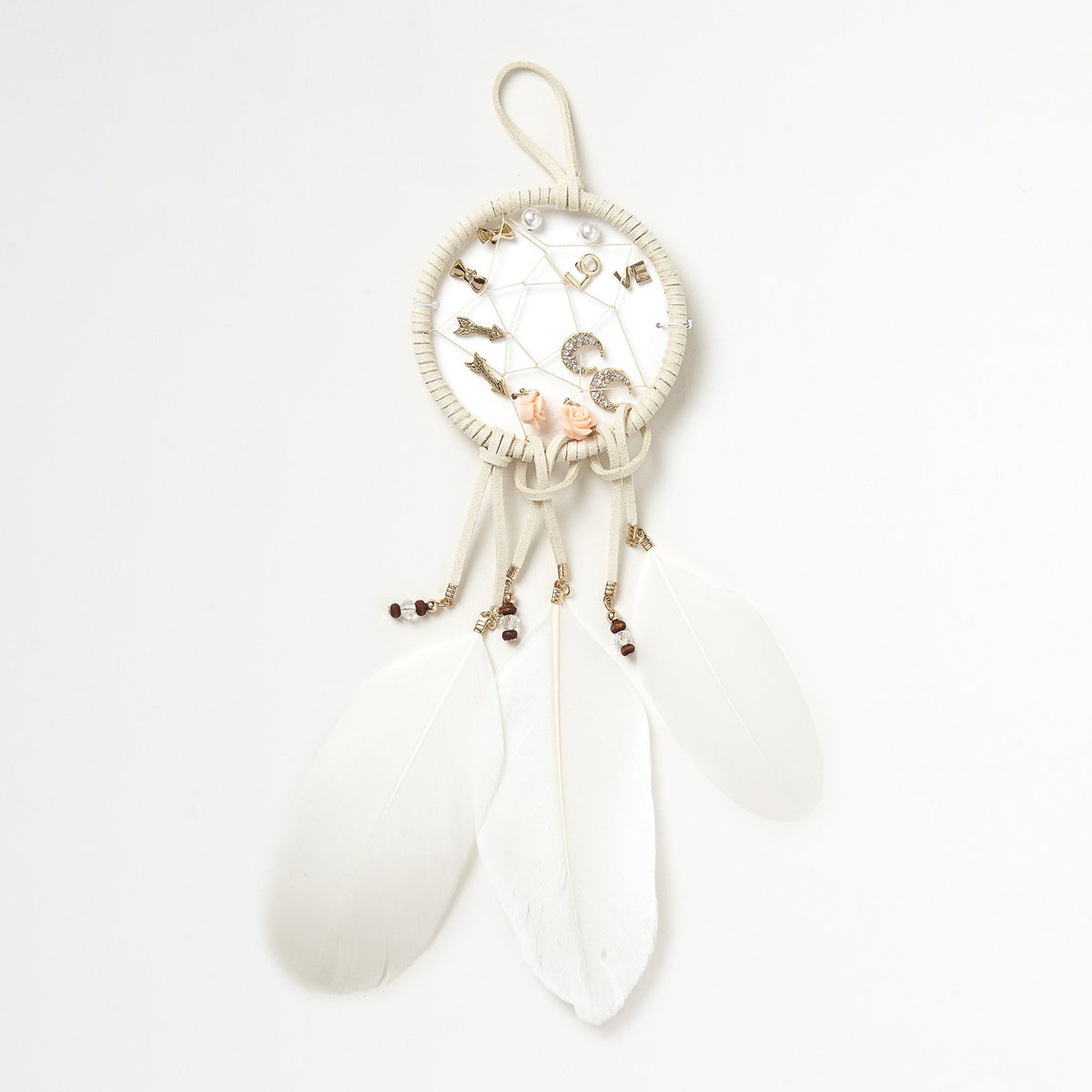 Cream Dreamcatcher Earrings