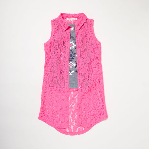 Crochet Lace Vest With Tank
