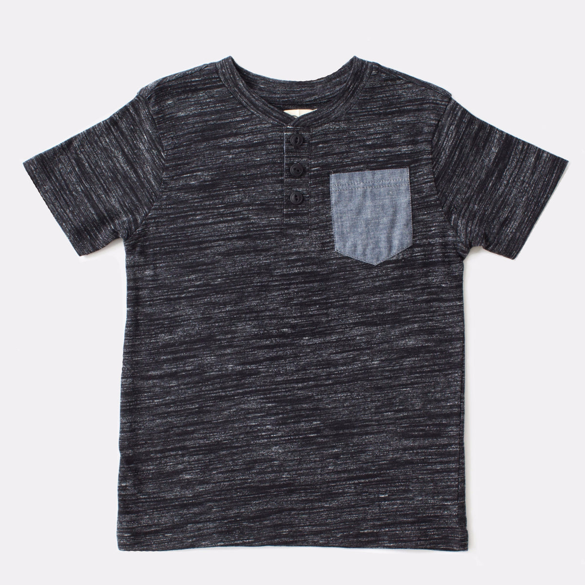 Dark Gray Henley with Chambray Pocket