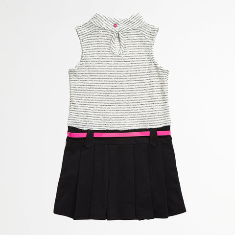 Dropwaist Dress with Black Skirt and Pink Heart