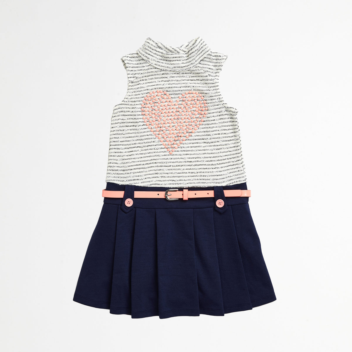 Dropwaist Dress with Blue Skirt and Pink Heart