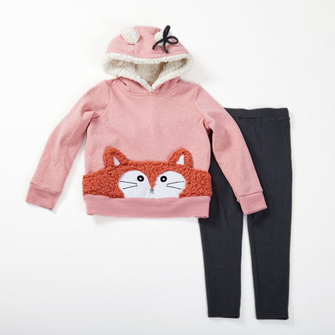 Fleece Hoodie With Fox Sherpa Pocket and Legging Set