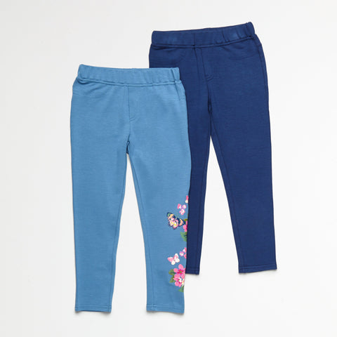 Floral and Solid Blue Jegging Set of 2