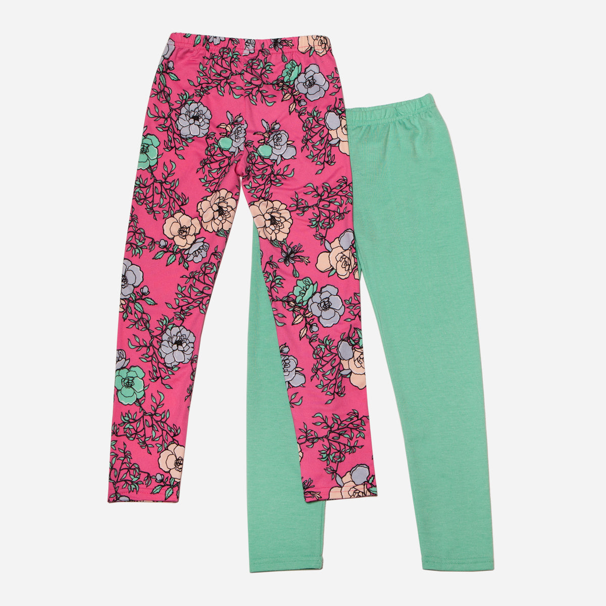 Floral and Solid Teal Legging Set of 2