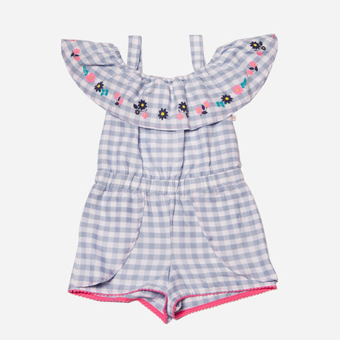 Gingham Romper with Scalloped Hem